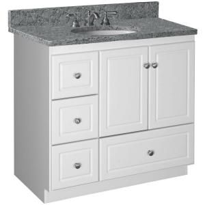 Simplicity by Strasser, Ultraline 36 in. W x 21 in D x 34-1/2in H Vanity Cabinet Only with Left Drawers in Satin White, 01.300.2 at The Home Depot - Mobile