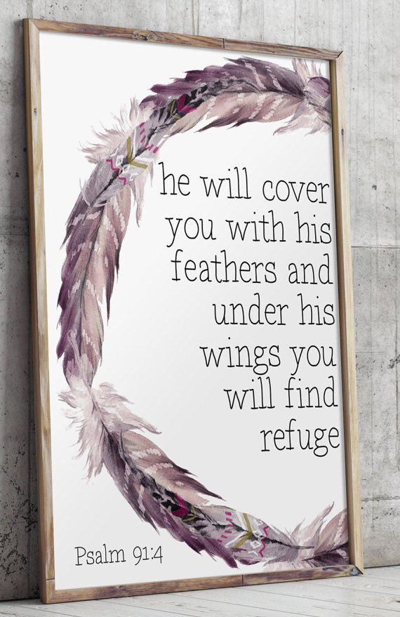 Printable art He will cover you with his by TwoBrushesDesigns