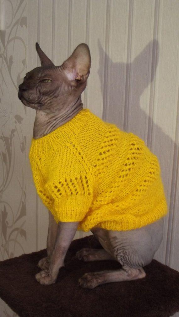 Cómodo jersey amarillo para un sphynx, suéter para un gato, suéter para perro