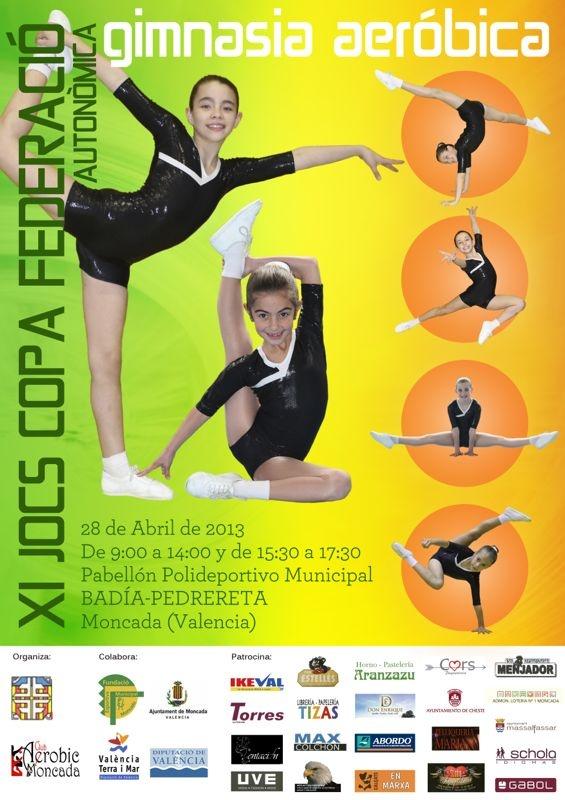 El domingo 28 de abril, a partir de las 9:00 de la mañana, se celebrará el trofeo de gimnasia aerobica XI Jocs Copa Federación Autonómica, en el Pabellón Polideportivo Municipal Badia Pedrereta de Moncada.