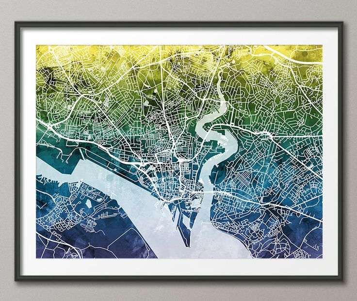 Southampton Map, Southampton Hampshire England City Street Map, Art Print (2794) by artPause on Etsy