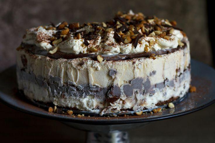 Chocolate Ganache-Peanut Butter Ice Cream Cake