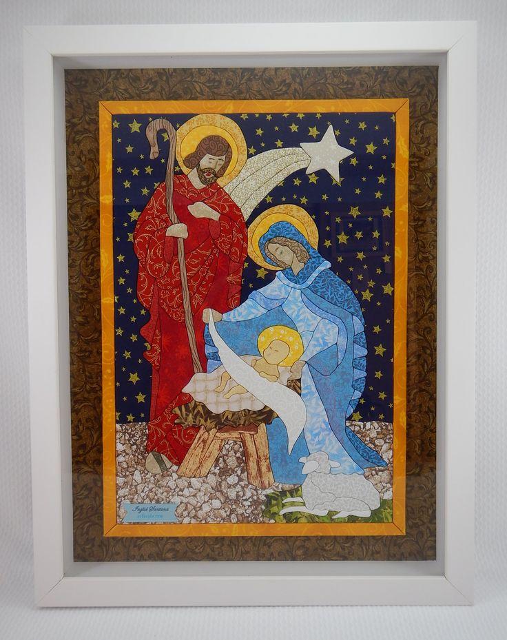 Patchwork embutido Sagrada Familia. Artesanato religioso.