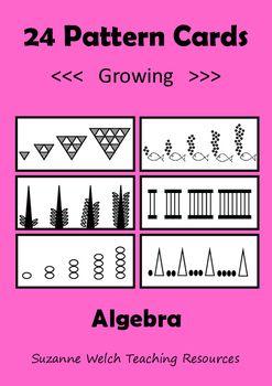 Algebra / Math pattern cards.  Growing / Extending patterns.