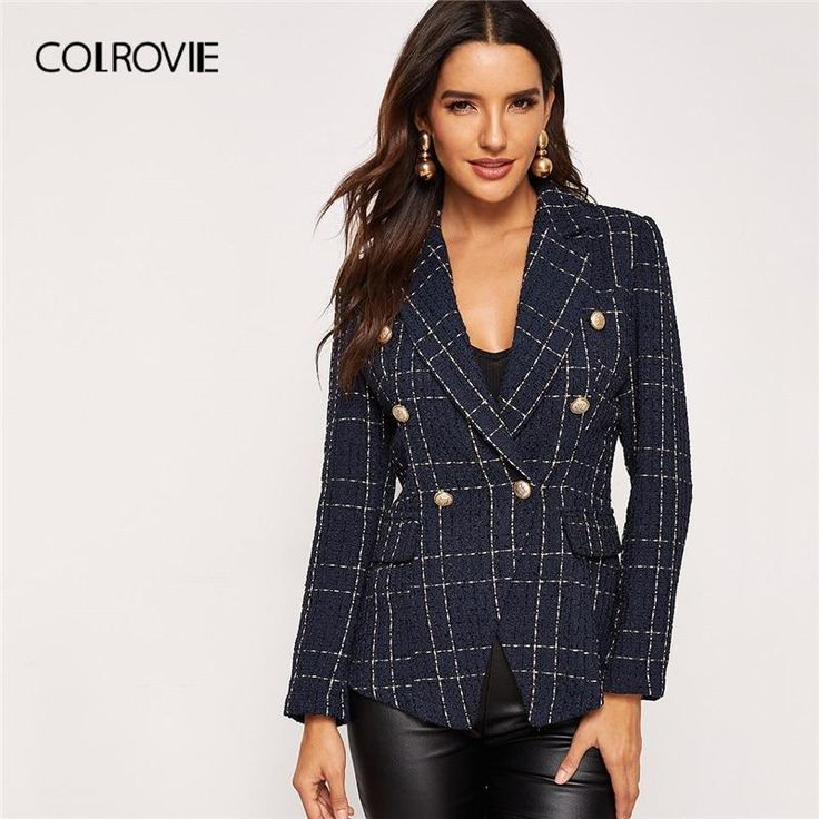 COLROVIE Navy Plaid Notched Double Breasted Ladies Blazer Women Blazers And Jackets 2019 Spring Fashion Formal Office Lady Coat 3