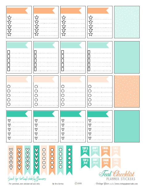 Free Printable Teal & Cantaloupe Checklist Planner Stickers from Vintage Glam Studio