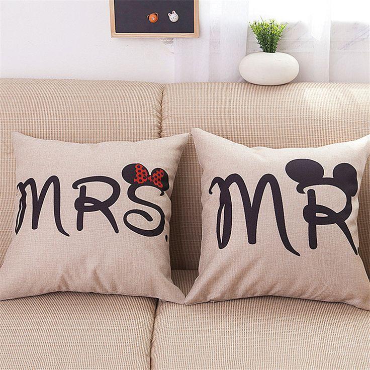 45*45cm CottonLinen Lovers Pillow Cover Cushion Office Nap Throw Pillow Case UIE486