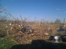 Tornado damage in Phil Campbell following the statewide April 27, 2011 tornado outbreak.