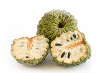 custard apple -= the most delish melt in your mouth fruit. My grandfather cherished and nursed the one tree he had in his sub tropical South African Garden.