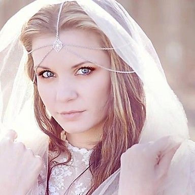 miss rose®fashion bruid sieraden dubbele ketting zilveren hoofdband – EUR € 2.99