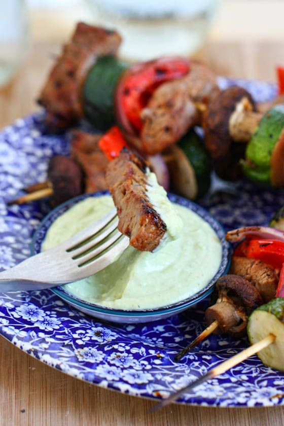Steak and Veggie Kabobs with Creamy Avocado Dipping Sauce -This sauce is thick, creamy from all the avocado and yogurt, and slightly on the spicy side. I have a feeling it would go with way more than just steak kabobs!