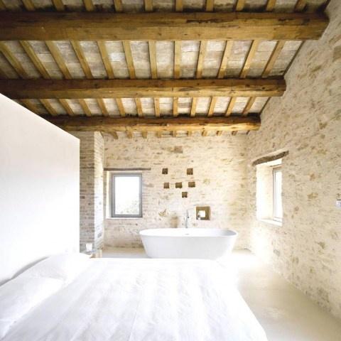Beams Stone Walls In An Italian Farmhouse