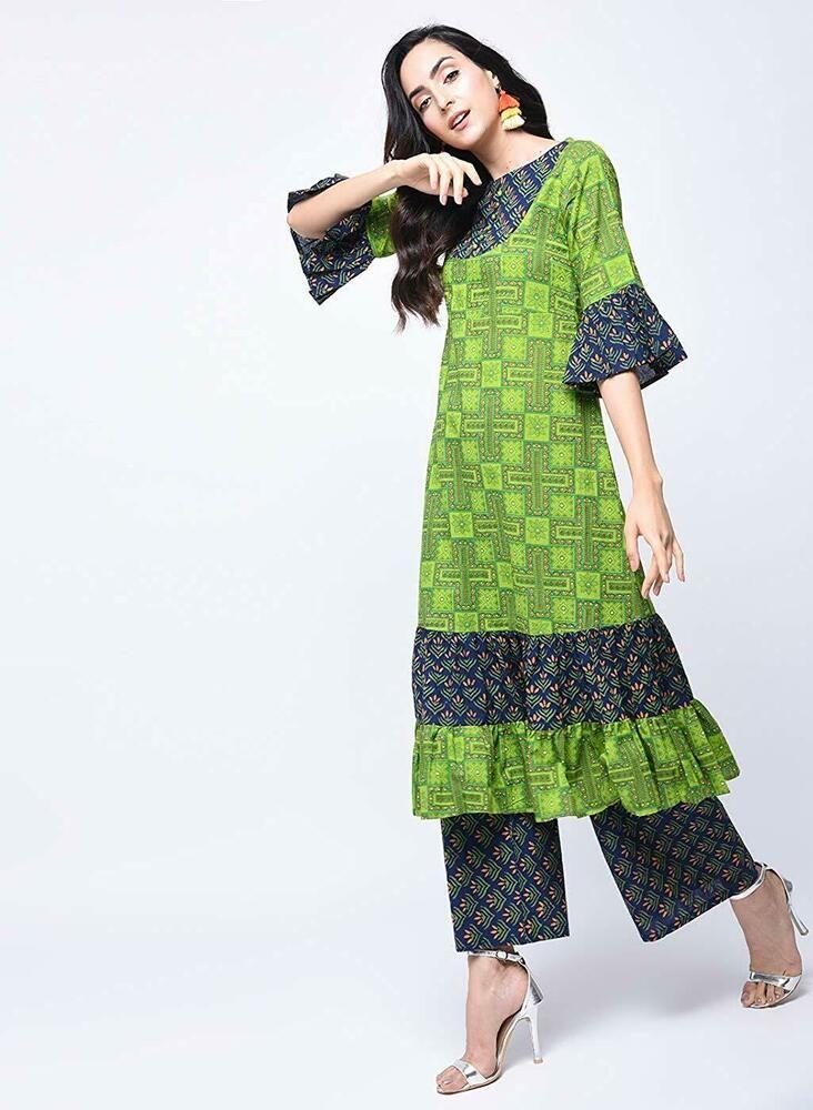 Details about  /Indian Kurta Kurti Bollywood Pakistan Women Designer Long Tunic Top Dress Bottom