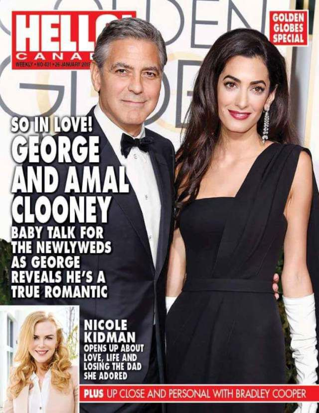 Amal and George Clooney on the cover of HELLO Magazine Canada.