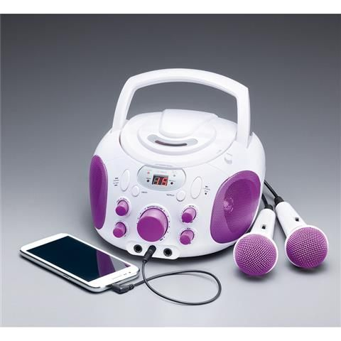 Karaoke Machine with CD Player - White & Purple
