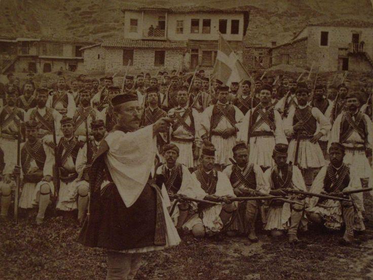 Stereoview 1897 Greco-Turkish War GREEK INSURGENTS w/CHIEFTAIN Kalambaka, Greece