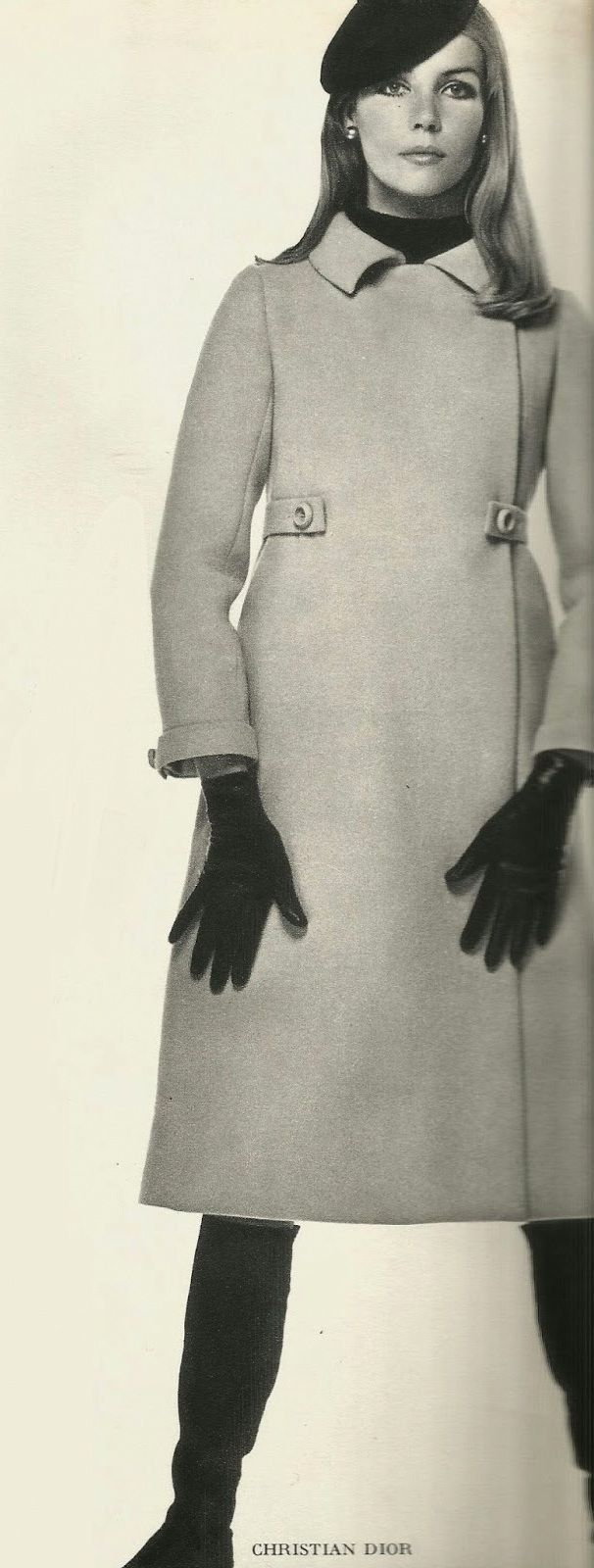 Christian Dior ad, 1966 - 1967 | simple grey vintage Chesterfield style evening coat, black gloves & beret