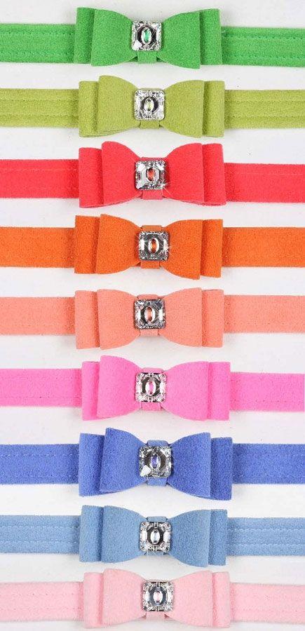Big Bow Swarovski Crystal Ultrasuede Dog Collar - 20 Colors   Sadie -- you should pick a color!!!