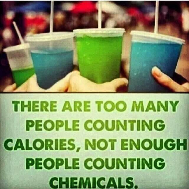 There are too many people counting calories, not enough people counting chemicals. I will say this: I realize that food is made of chemicals regardless of if they are man-made or not and that not all man-made chemicals are bad. However, when it comes to my food, simpler is better. The less man-made chemicals in it, the better.