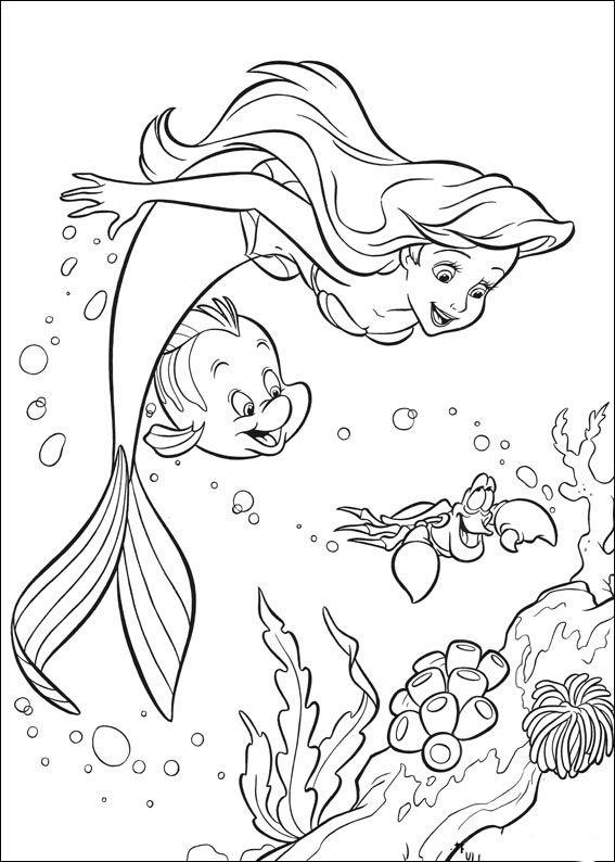 Den lilla sjöjungfrun Målarbilder för barn. Teckningar online till skriv ut. Nº 17