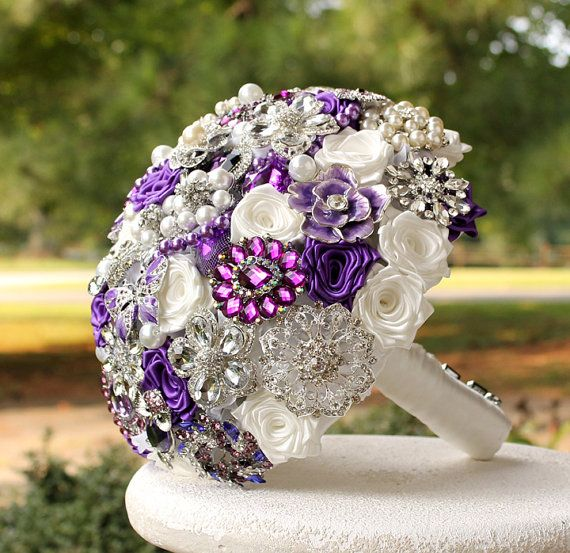 Royal Purple Wedding Brooch Bouquet made to order