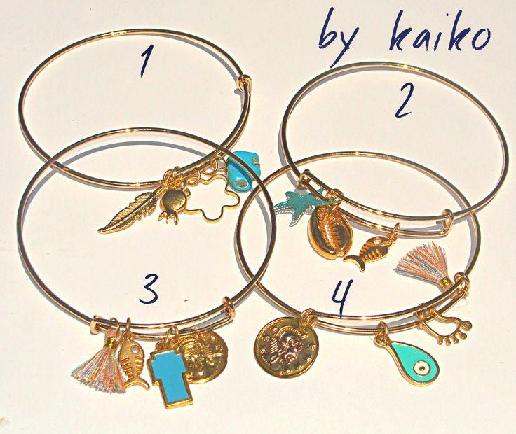 Bangle Bracelet, Charm Bracelet,Howlite Turquoise Bead,Charms bracelets,Bridesmaid Jewelry,Hand Stamped Charm,Expandable Bracelet, by bykaiko on Etsy