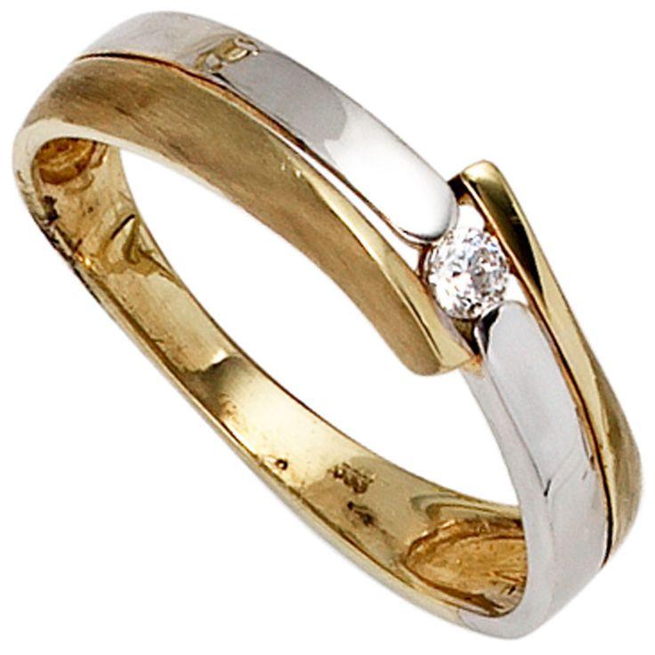 Damen Ring 333 Gold Gelbgold Weißgold teilmattiert 1 Zirkonia Goldring  http://cgi.ebay.de/ws/eBayISAPI.dll?ViewItem&item=151663875940&ssPageName=STRK:MESE:IT