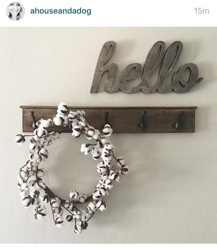 Hello sign and wreath