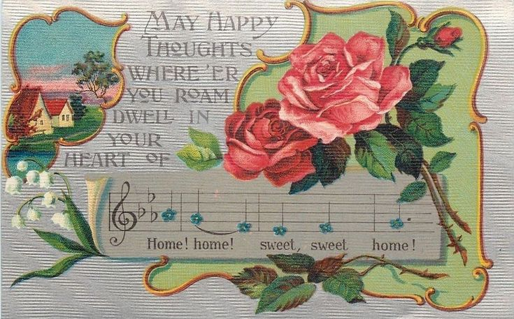 Home Sweet Home~Music Staff~Lyrics~Red Roses~Art Nouveau~Silver Back~Germany  | eBay