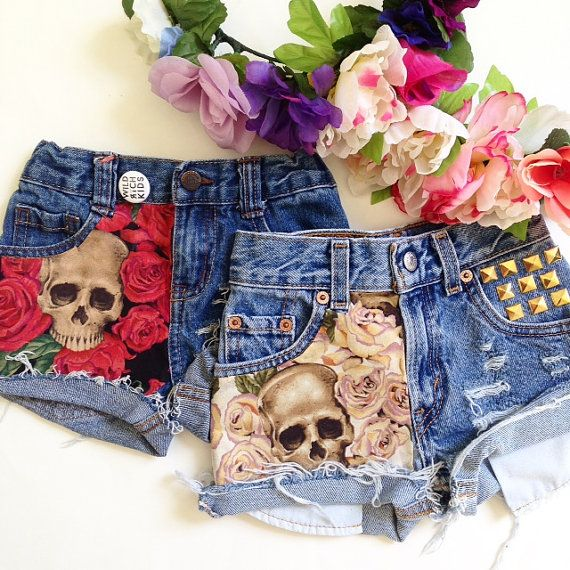 Skull & Pink Rose Studded Denim Shorts by WildRichKids on Etsy