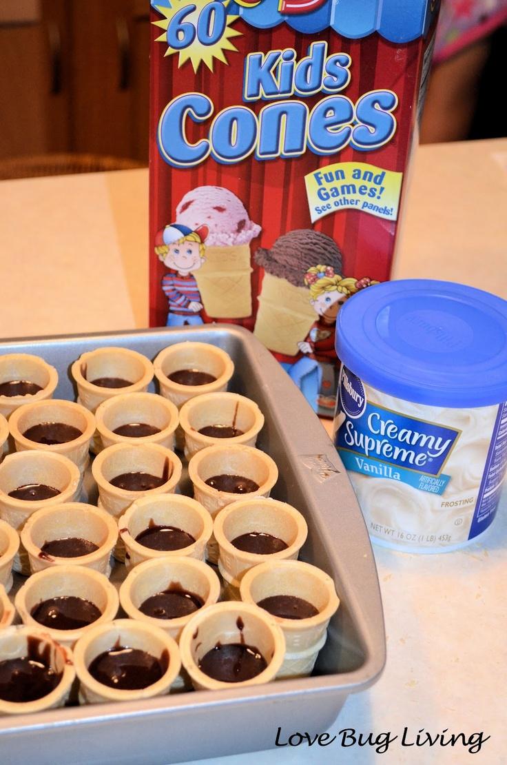 Mini Brownie Ice Cream Cones