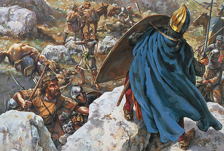 """King Louis VII takes refuge on a rock during the Battle of Mount Cadmus, 8 January 1148"""
