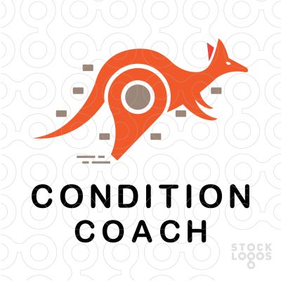 Playful logo featuring a kangaroo that has a whistle instead of his legs representing coach. Color is orange. Related keywords: kangaroo, condition, coach, whistle, sports, athletics, sport, conditioning, sportswear, school. This logo is ideal for sports coach business, sport gear store, animal training center, sports equipment shop, etc.