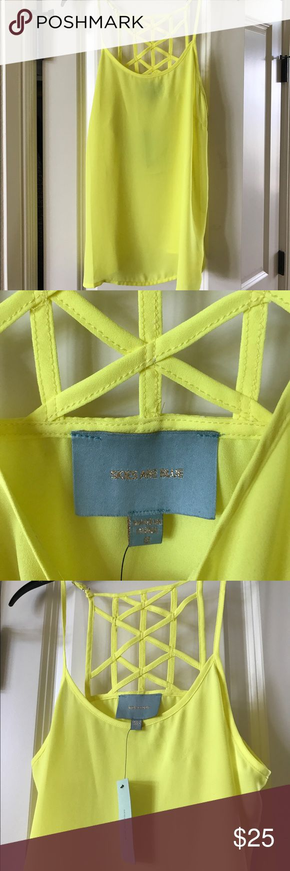 Neon yellow cami - perfect summer top Neon yellow cami with crisscross design on back. Nwt Skies Are Blue Tops Camisoles