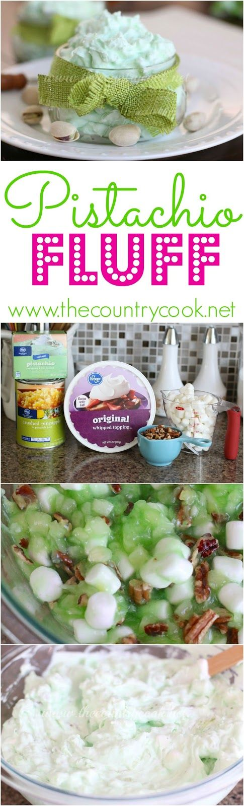 """Pistachio Fluff recipe from The Country Cook. Also known as """"Green Stuff"""" or Watergate Salad. No bake, simple ingredients and my family loves them. More fluff recipes when you click on the link."""