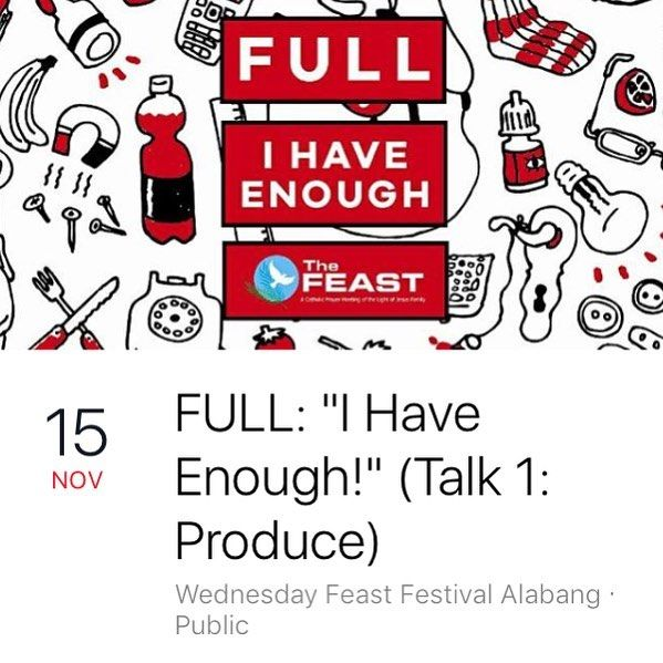 See you tomorrow night as we start our new series FULL: I HAVE ENOUGH! That's 7:30pm at the EXPO Trade Hall 4th Level Festival Mall Alabang!  #WFFALoveConnects