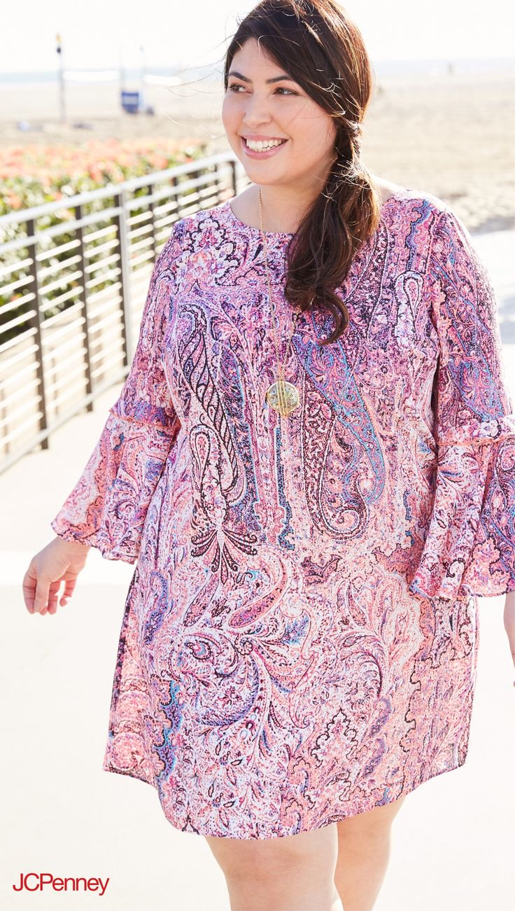 This plus-size swimsuit cover up features a bobo-inspired paisley print for a fun, playful look. Travel to and from the beach in style in this lightweight tunic swimsuit cover up.