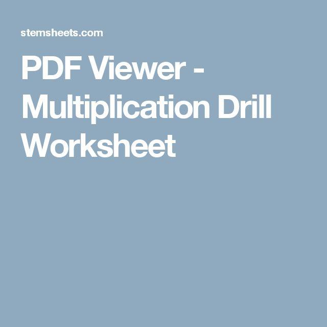 PDF Viewer - Multiplication Drill Worksheet