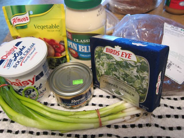 Knorr Spinach Dip     1 (10 oz.) pkg. frozen chopped spinach, thawed (do not use fresh)     1 1/2 c. sour cream     1 c. Spin Blend     1 (4 oz.) pkg. Knorr vegetable soup mix     1 (8 oz.) can water chestnuts, finely chopped     3 green onions, finely chopped      Chop water chestnuts.     Dice green onions.     Squeeze water out of thawed spinach.     Mix all ingredients together well.     Cover and refrigerate  Notes: If you can't find Spin Blend, use 1/2 cup Mayo 1/2 cup Miracle Whip