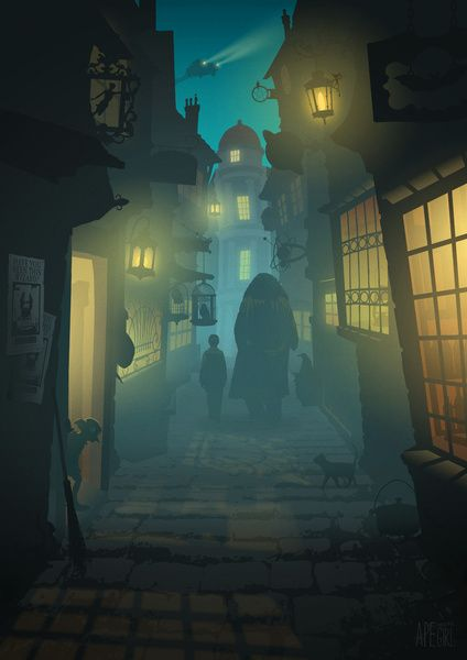 Diagon Alley Art Print by Ape Meets Girl | Society6 #harrypotter #fanart