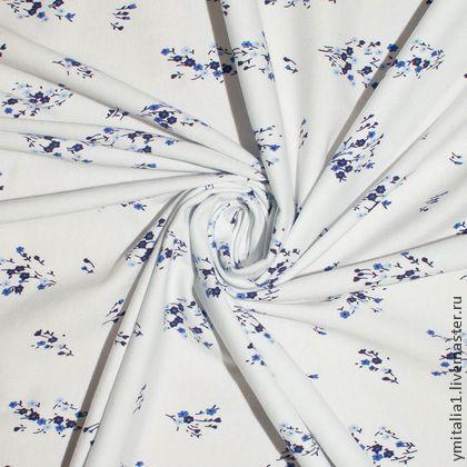 Итальянский хлопковы трикотаж MONNALISA сине-белый мелкий цветочек -