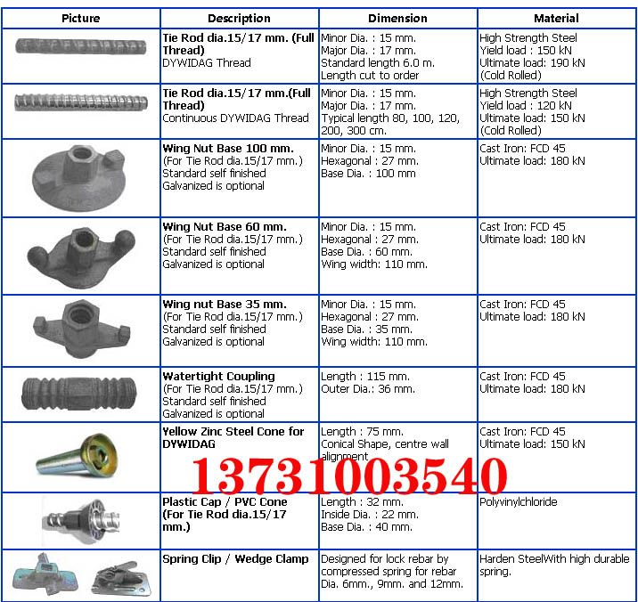 Accessory For Formwork Cold Rolled Rod Picture Description