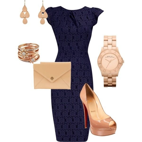 Lace Navy Dresss $55  Christian Louboutin Shoes $450 Marc Jacob Rose Gold Watch $275 Accessories with Rose Gold Jewelries = A knockout Outfit for work, date, or Just to hangout with the Girls. All @ polivore.com