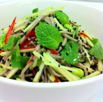 Soba noodle salad, apple, cucumber, chilli, mint with green tea and lemongrass dressing