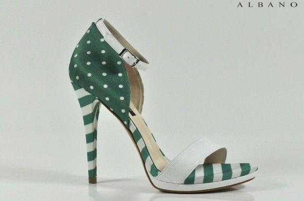Sandali a righe e pois bianchi e verdi con tacco alto   Primavera Estate 2015