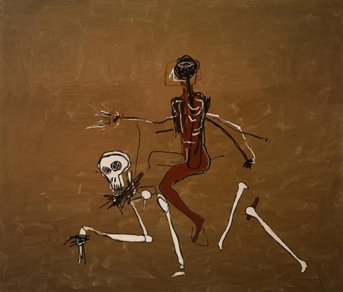 Верхом на смерти, 1988 by Жан-Мишель Баския. Неоэкспрессионизм. фигуративная живопись. Private Collection