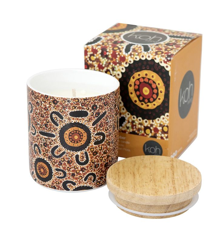 Koh Porcelain Bush Canister - Sandalwood & Amber Candle (16013W)