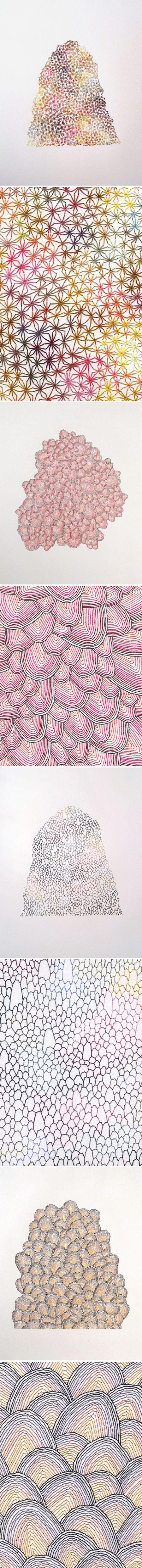 Emily Barletta's embroidered pattern art