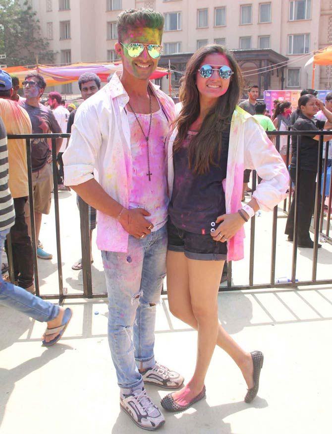 Ravi Dubey and Sargun Mehta at a Holi bash. #Bollywood #Fashion #Style #Beauty #Hot #Sexy