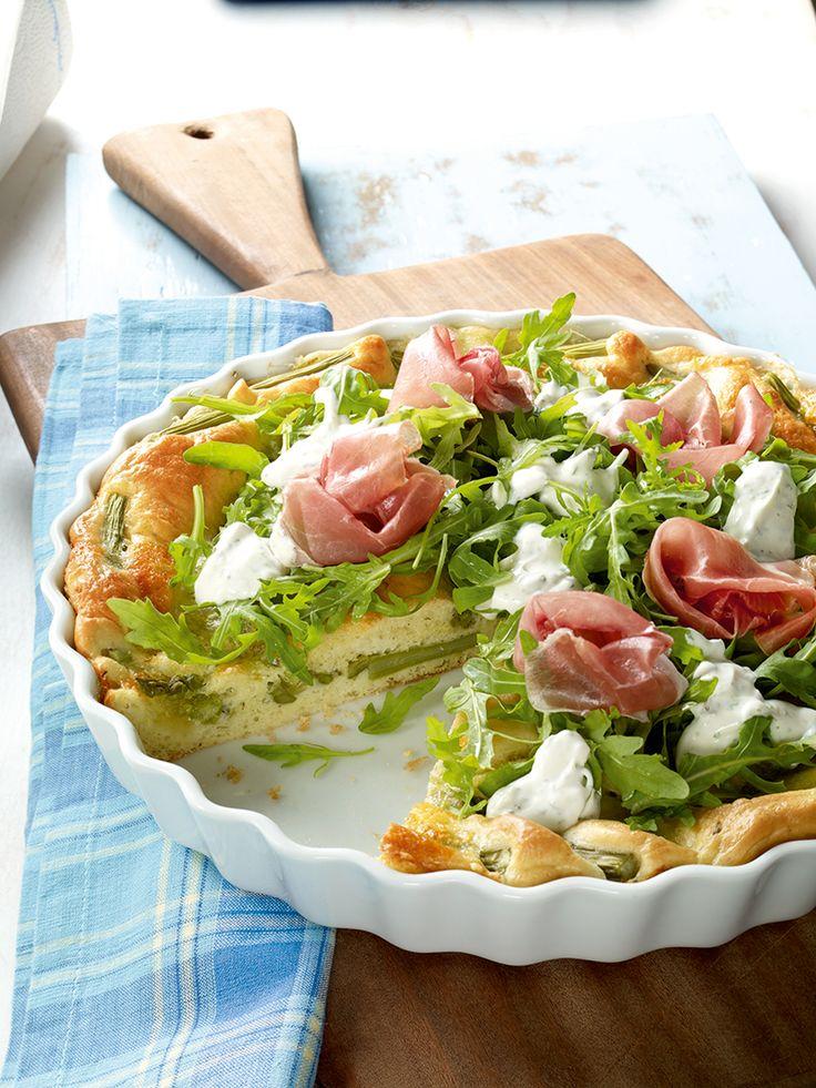 Spargelquiche mit Rucola -  Ein würziger Gemüsekuchen mit Spargel nicht nur zur Mittagszeit